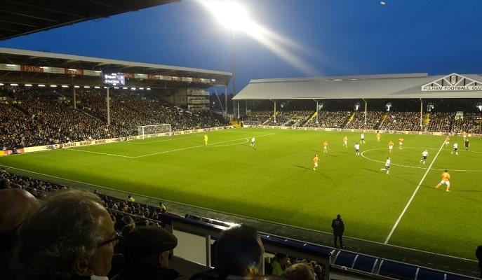 Craven Cottage stadium at night